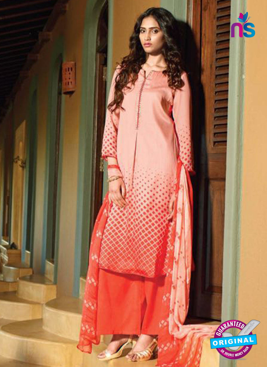 Ganga 5028 Peach and Orange Cotton Party Wear Suit