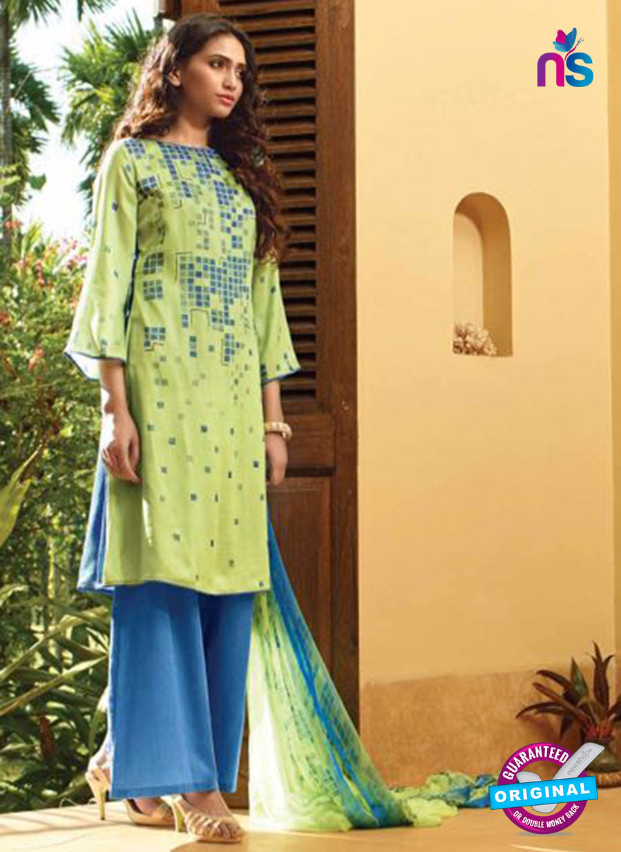 Ganga 5029 Blue and Green Cotton Party Wear Suit