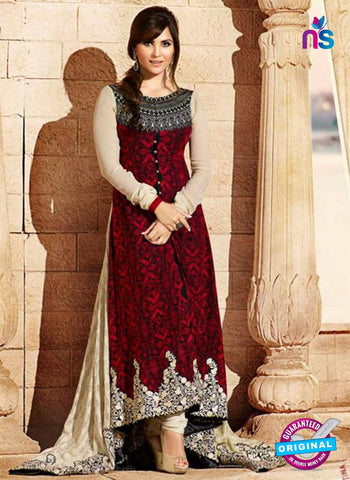 Omtex 502 Maroon Color Embroidered Georgette Anarkali Suit