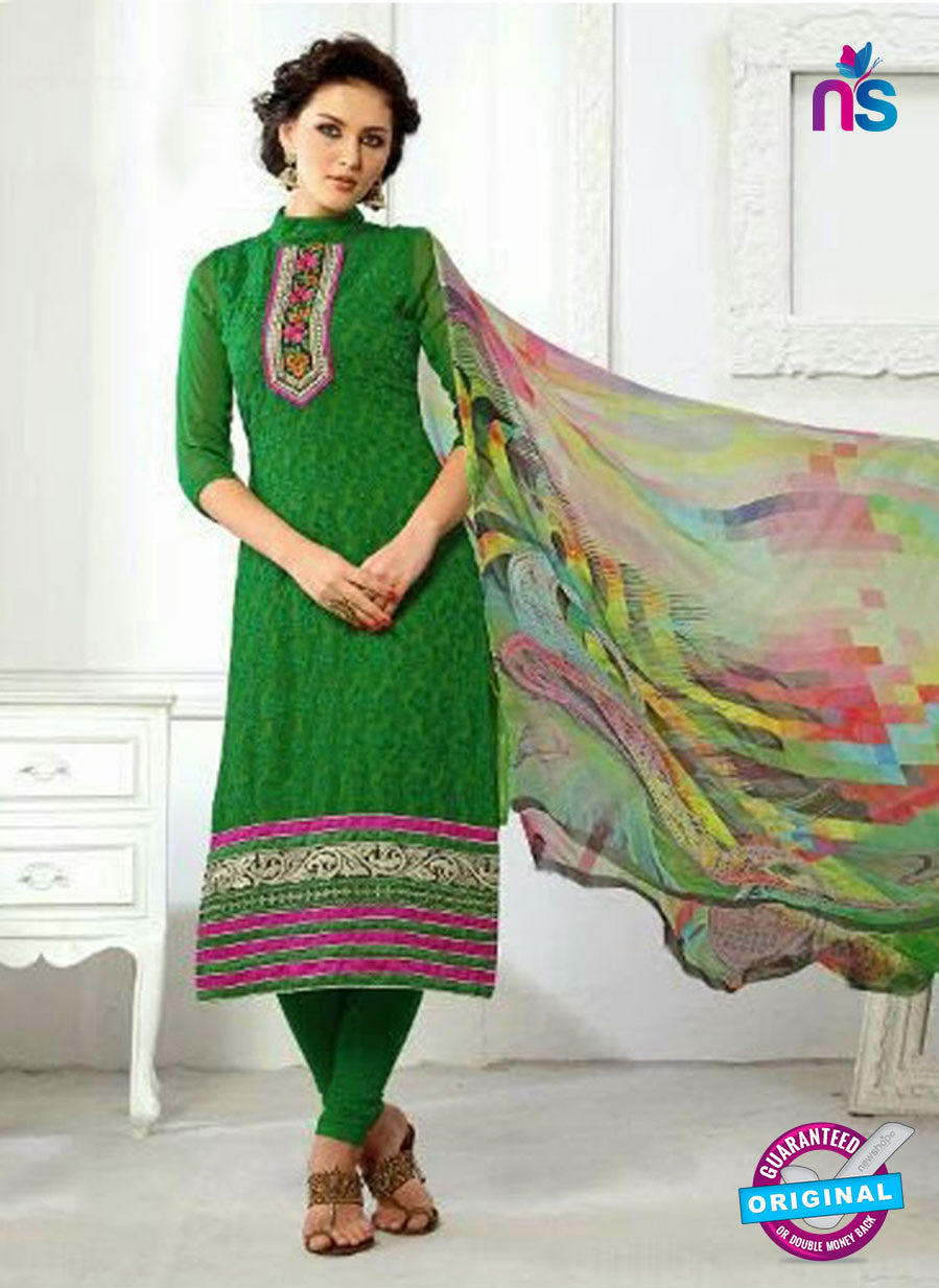 SC 13064 Green Georgette Embroidery Party Wear Straight Suit