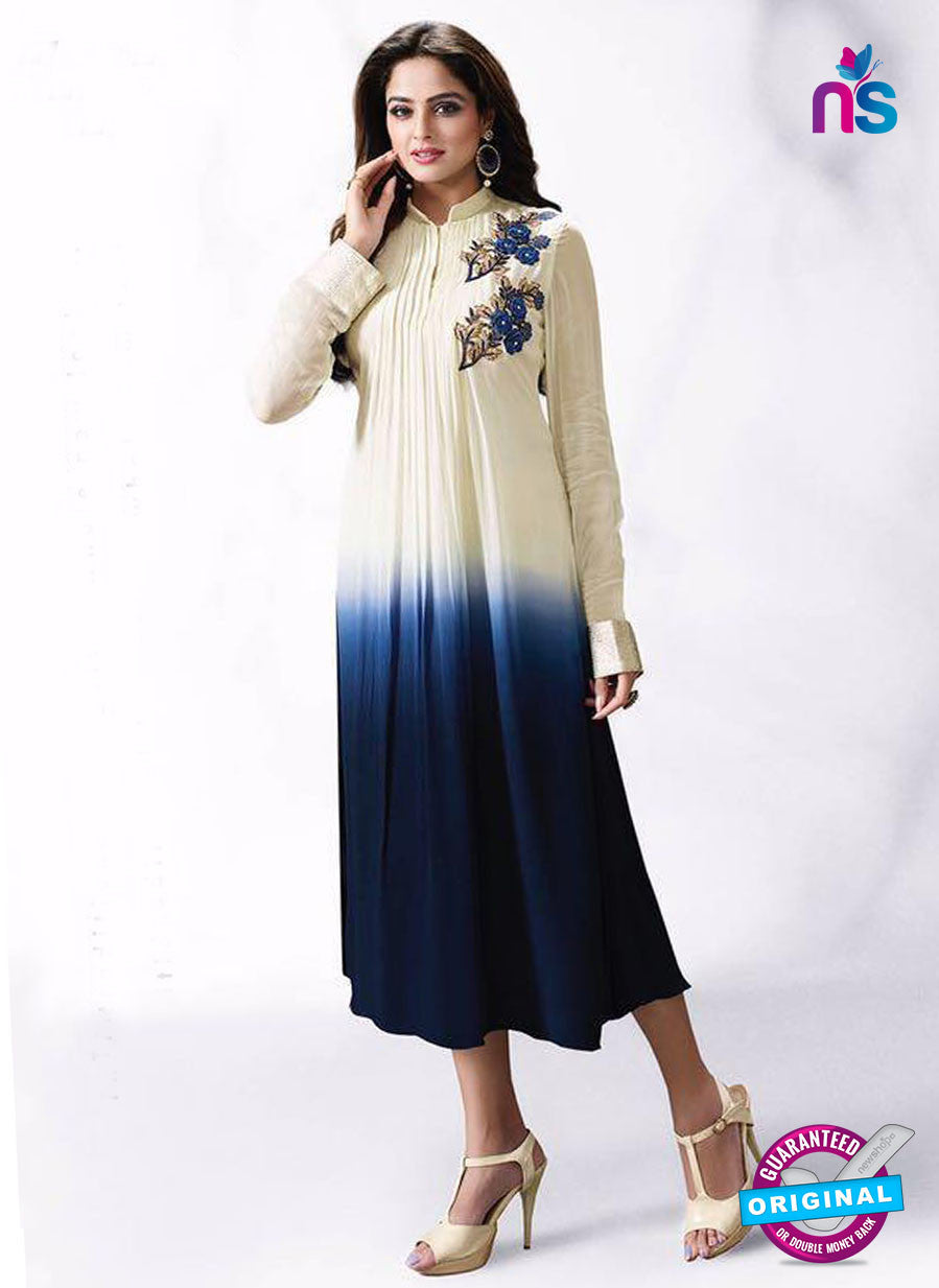 LT 502 Beige and Blue Exclusive Party Wear Georgette Tunic