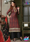 NS10260 Red and Black Printed Cambric Cotton Casual Plazzo Suit