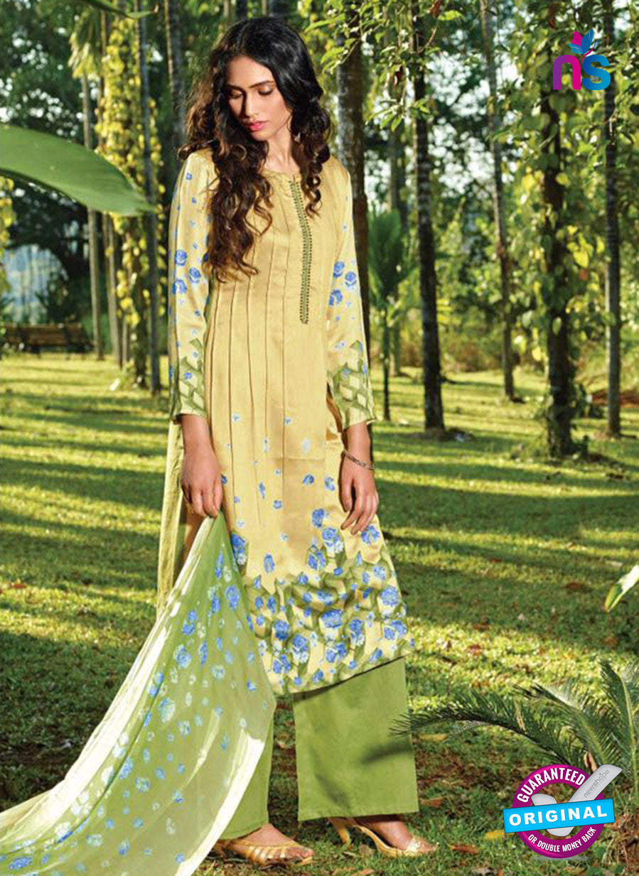 Ganga 5031 Green and Yellow Cotton Party Wear Suit