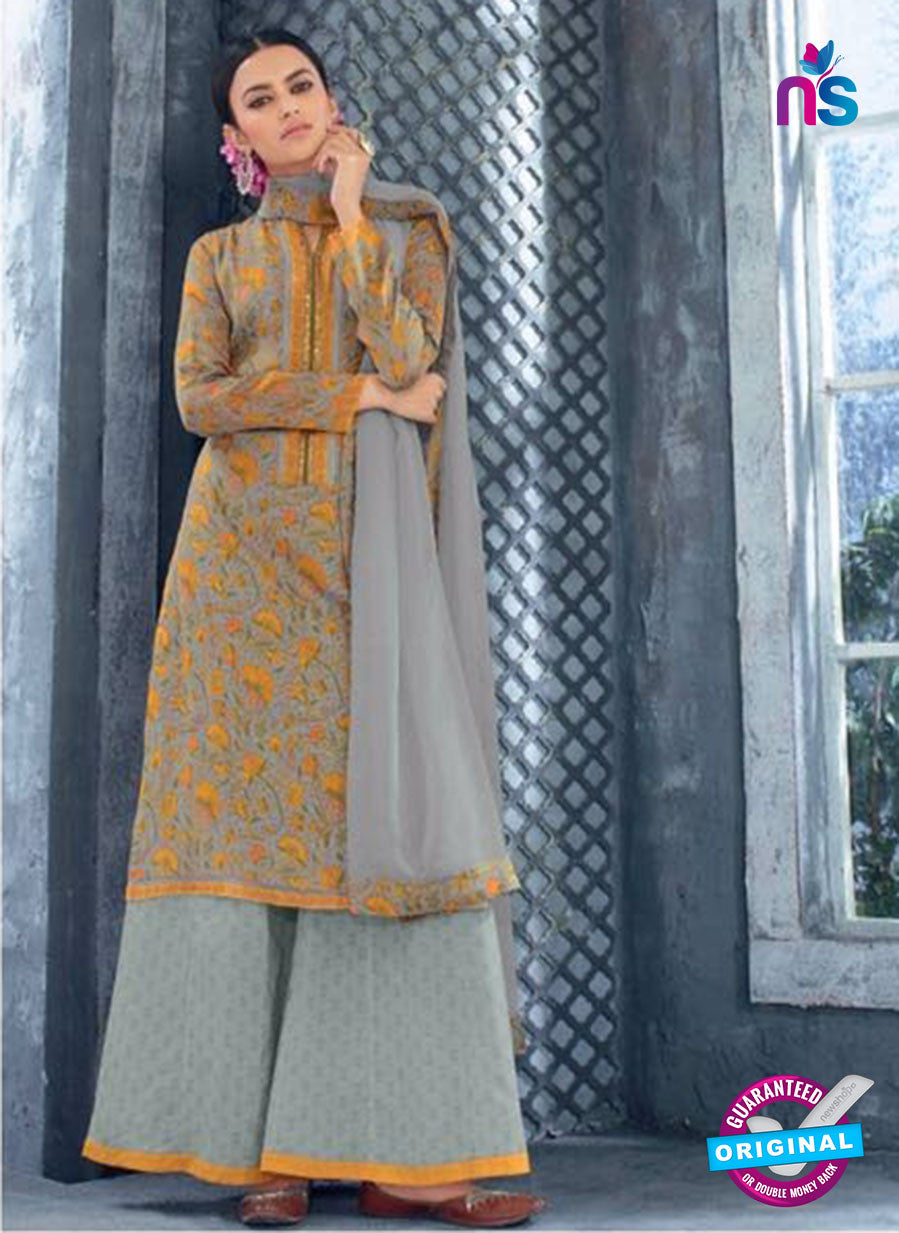 Ganga 5033 Grey and Yellow Cotton Suit