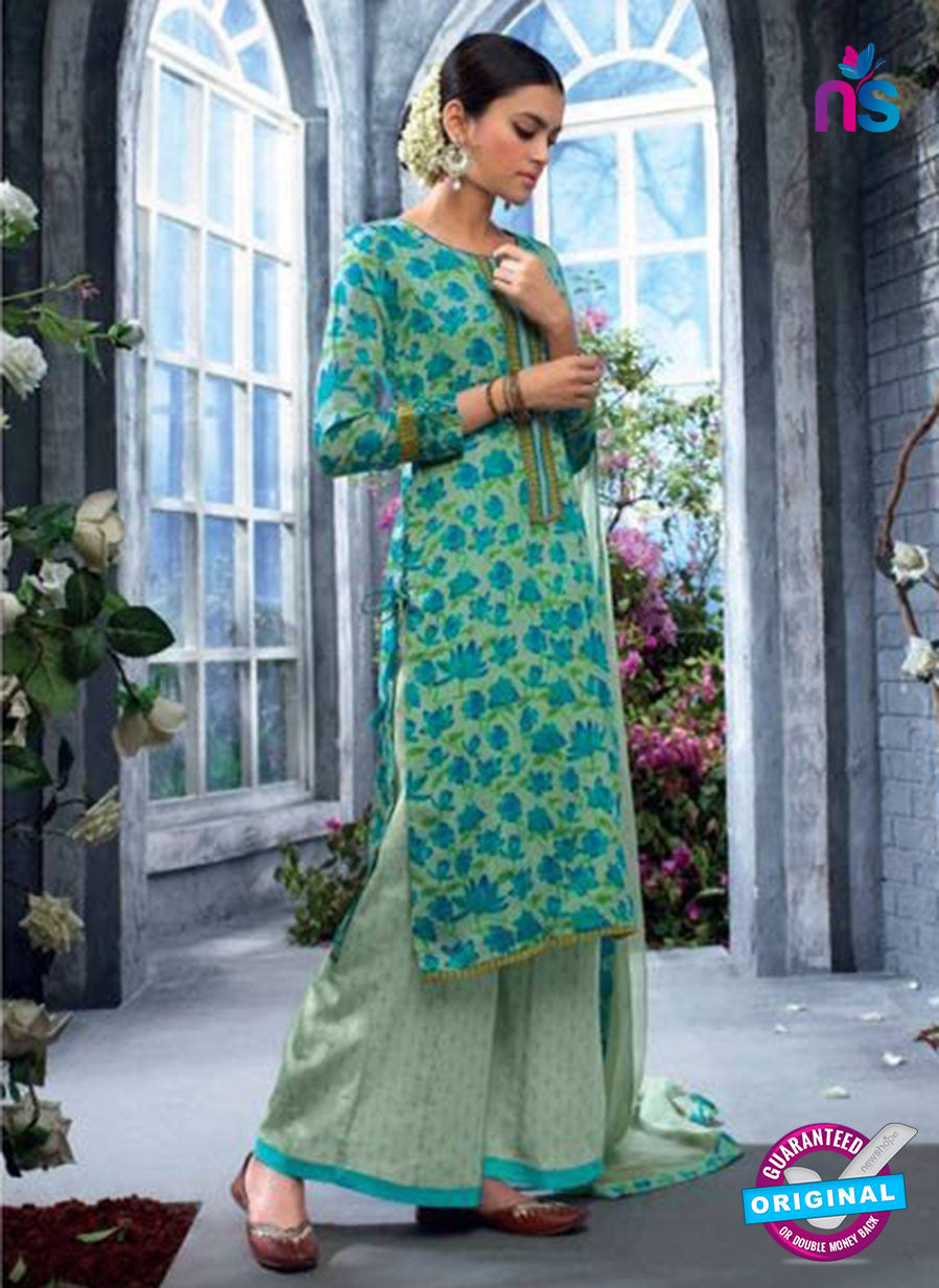 Ganga 5034 Blue and Beige Cotton Suit