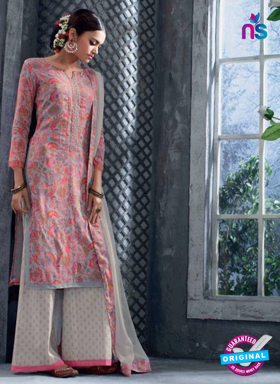 Ganga 5035 Peach and Grey Cotton Suit