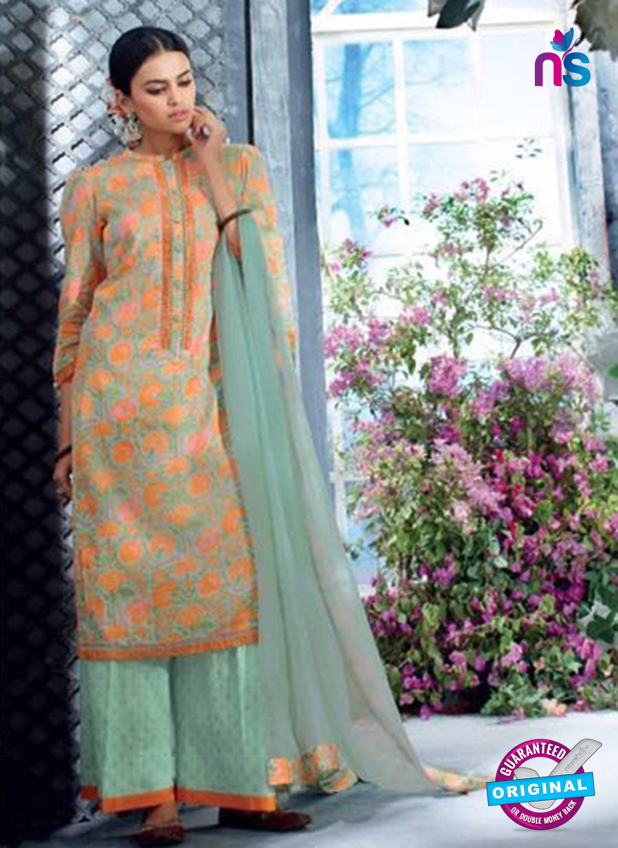 Ganga 5036 Orange and Green Cotton Suit