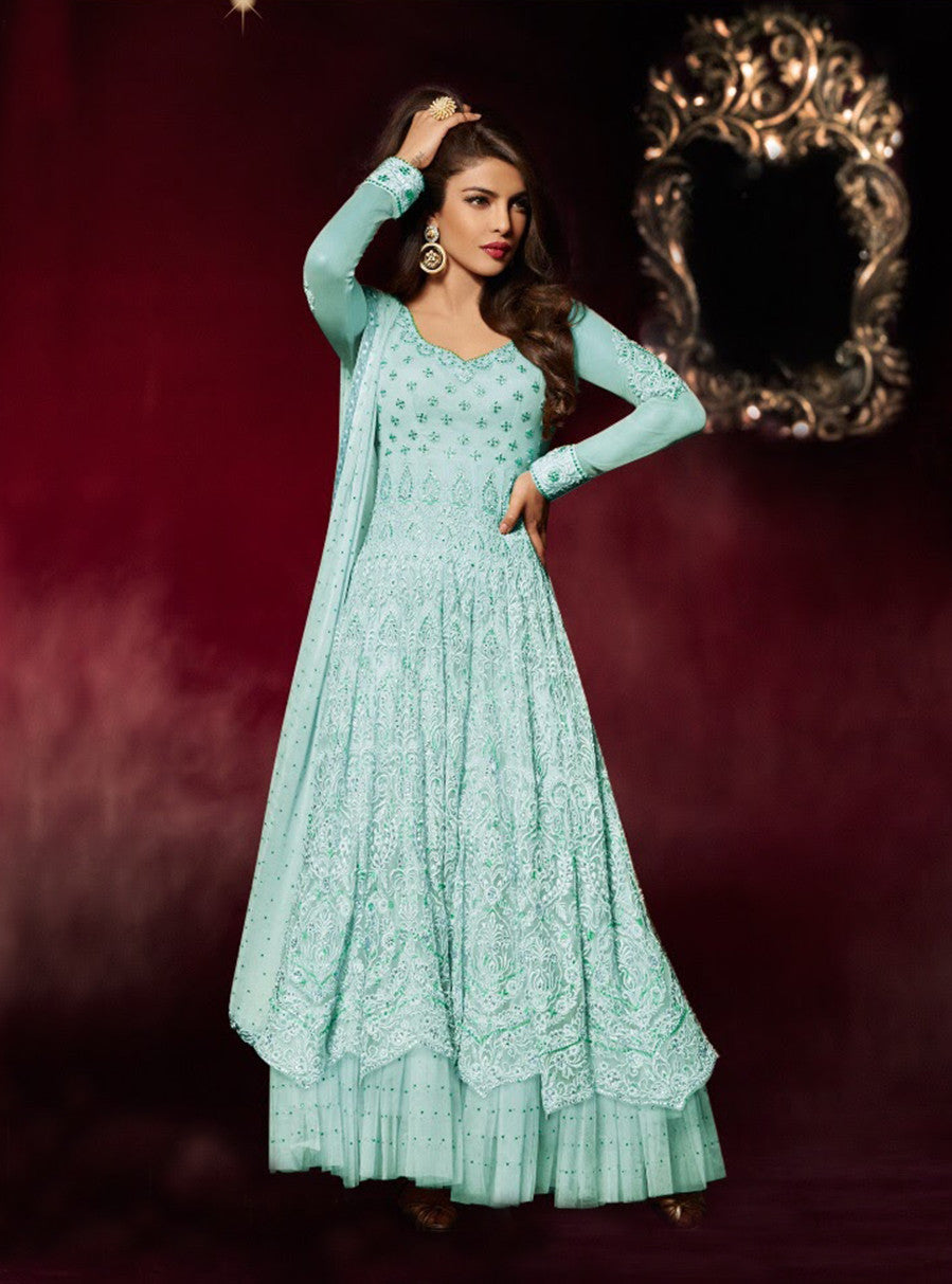 Heroine 5038 Blue Color Georgette Designer Suit