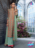Ganga 5038 Green and Orange Cotton Suit