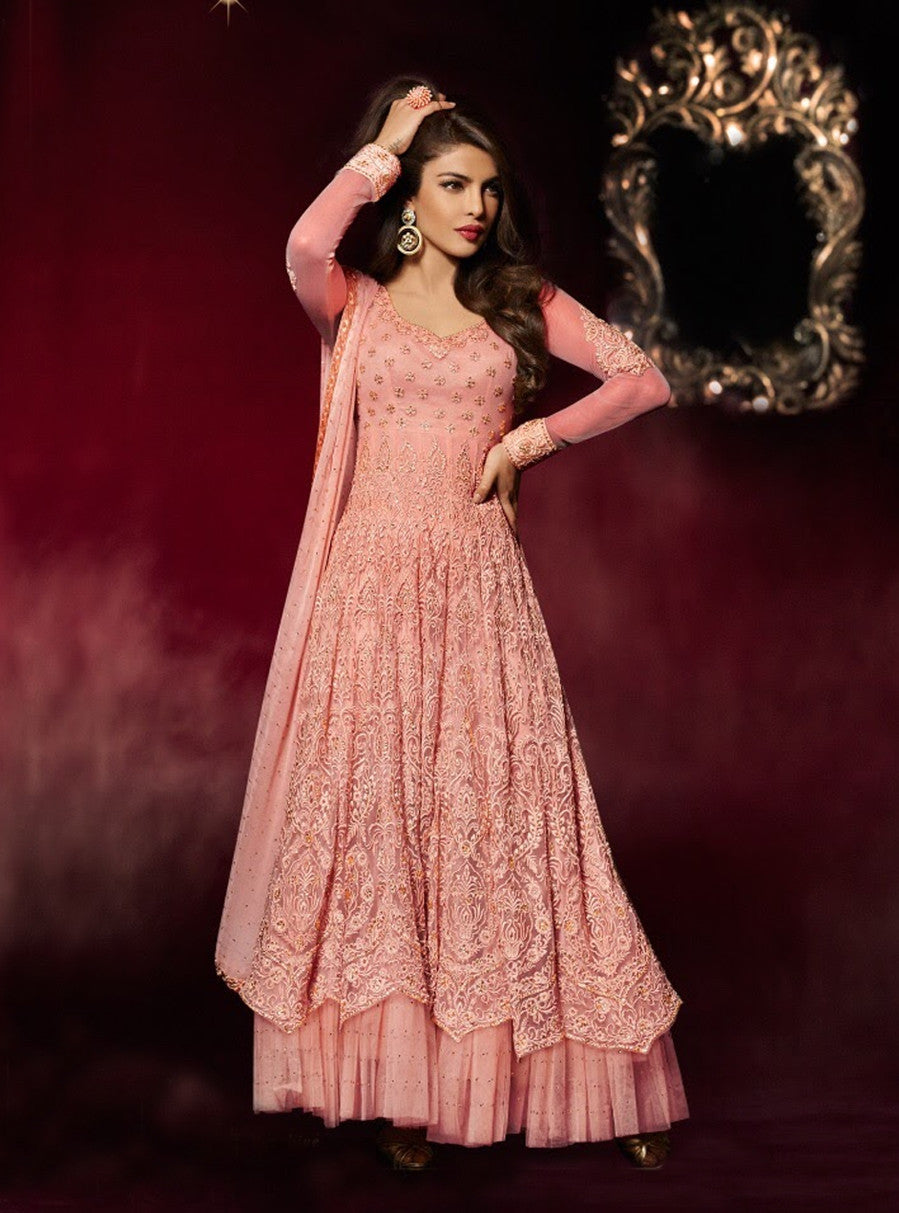Heroine 5038A Peach Color Georgette Designer Suit