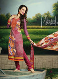 Glossy 503A  Pink Color Glace Cotton Designer Suit