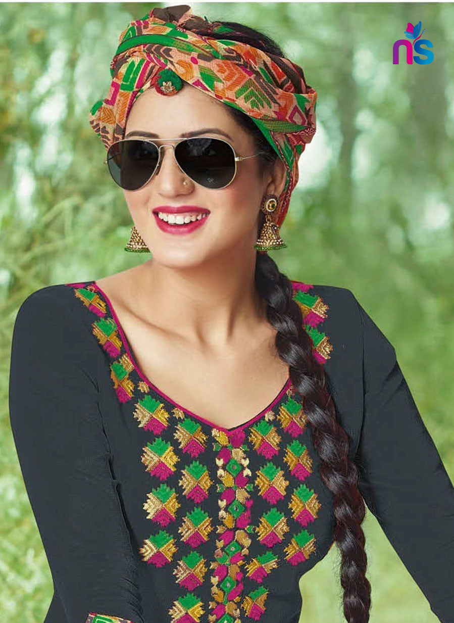 Kalakirti503B Black Color Glace Cotton Designer Suit