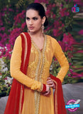 NS10038 Orange Georgette Designer Anarkali Suit