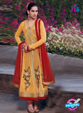 NS10038 Yellow Georgette Designer Anarkali Suit