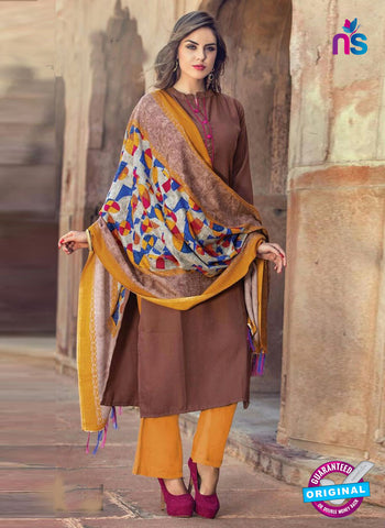 Feminista 5043 Brown Pashmina Formal Kurti