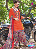 504 A Orange and Multicolor Embroidered Cotton Patiyala Suit