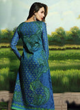 Glossy 504A  Blue Color Glace Cotton Designer Suit
