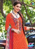 Kalakirti 504 A Orange and Multicolor Embroidered Cotton Patiyala Suit