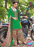 504 B Green and Multicolor Embroidered Cotton Patiyala Suit