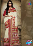 SC 12621 White and Red Bhagalpuri Silk Designer Saree