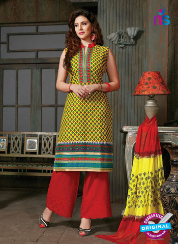 NS10261 Yellow and Red Printed Cambric Cotton Casual Plazzo Suit