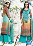 AZ 3335 Sky Blue and Brown Printed Cotton Satin Pakistani suit