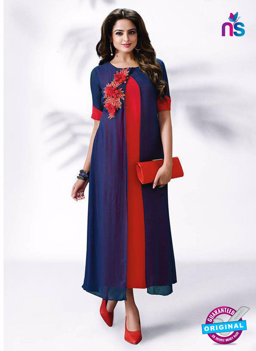 LT 504 Blue and Red Exclusive Party Wear Georgette Tunic