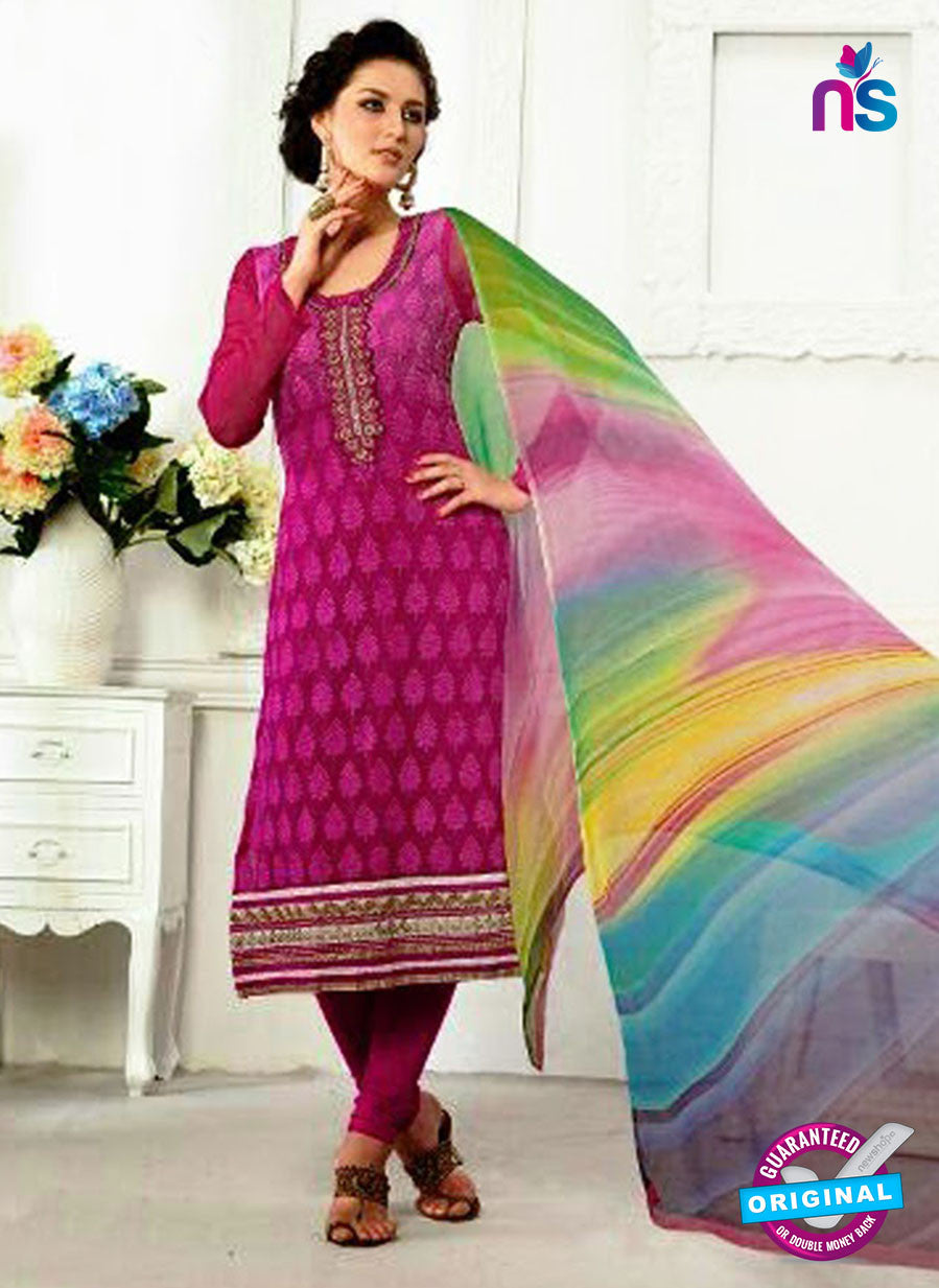 SC 13063 Magenta Georgette Embroidery Party Wear Straight Suit