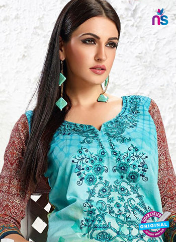 AZ 3335 Sky Blue and Brown Printed Cotton Satin Pakistani suit - Salwar Suits - NEW SHOP