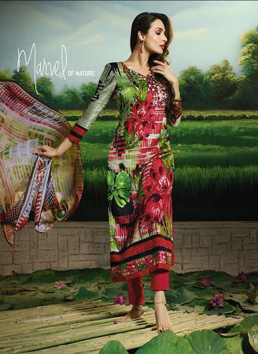 Glossy 505A  Multi Color Glace Cotton Designer Suit
