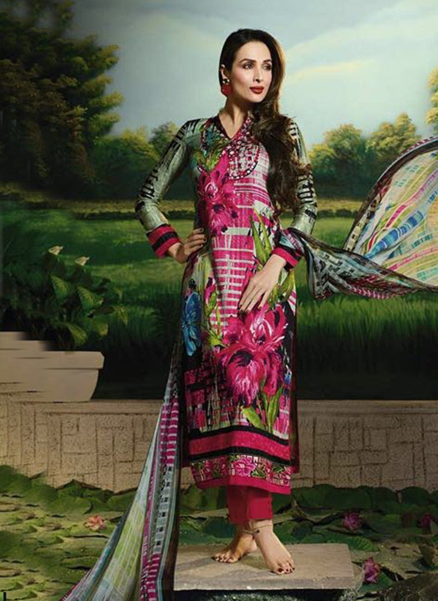 Glossy 505B  Multi Color Glace Cotton Designer Suit