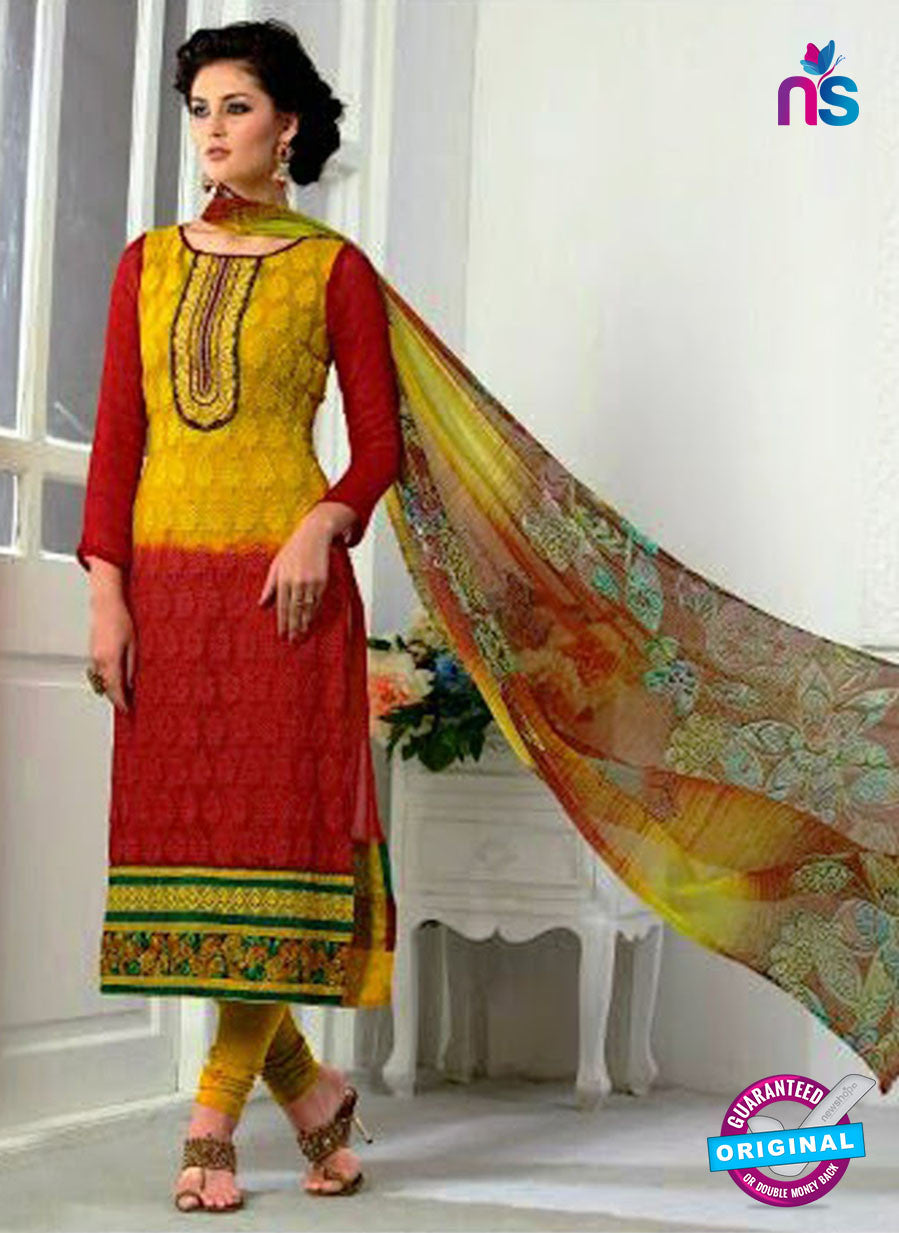 SC 13065 Yellow and Red Georgette Embroidery Party Wear Straight Suit