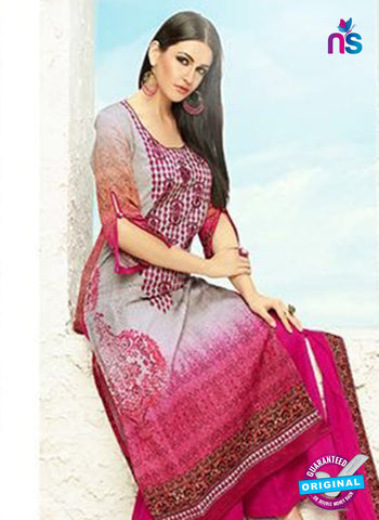 AZ 3336 Grey and Pink Printed Cotton Satin Pakistani suit