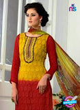SC 13065 Yellow and Red Georgette Embroidery Party Wear Straight Suit Online