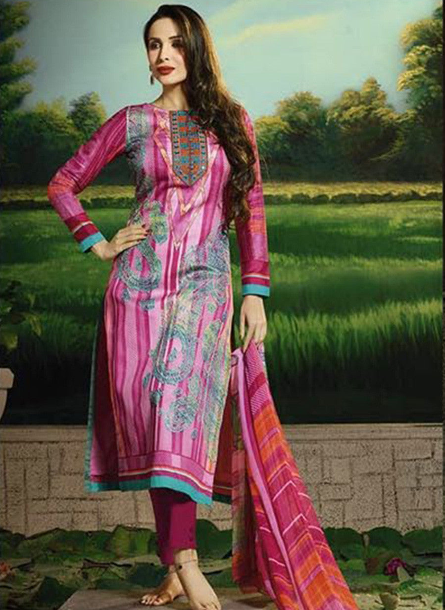 Glossy 506A  Pink Color Glace Cotton Designer Suit