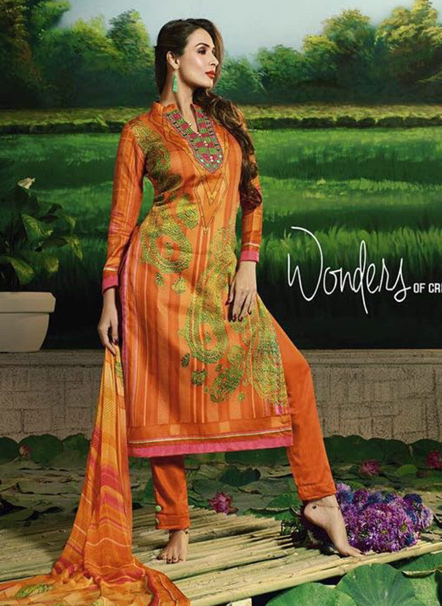 Glossy 506B  Orange Color Glace Cotton Designer Suit