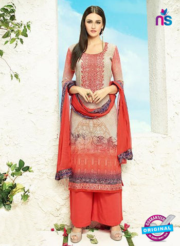 AZ 3337 Beige and Red Printed Cotton Satin Pakistani suit