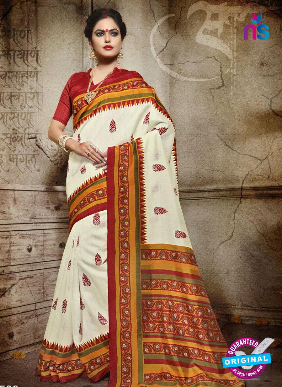 SC 12619 Red and White Bhagalpuri Silk Designer Saree