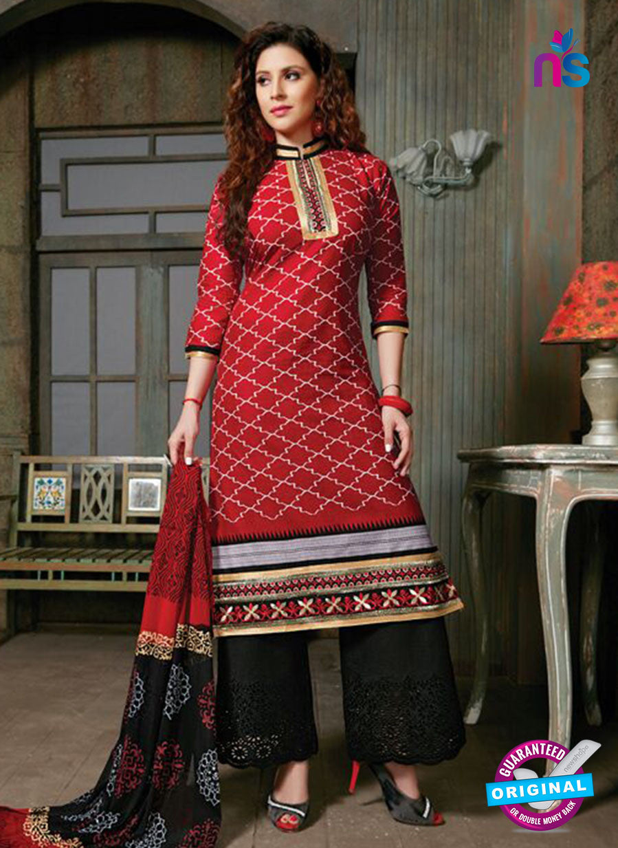NS10262 Red and Black Printed Cambric Cotton Casual Plazzo Suit