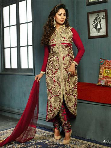 NS11571 A Red Designer Georgette Straight Suit