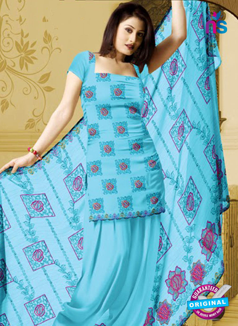 NS10765 Sky Blue and Magenta Karachi Cotton Designer suit