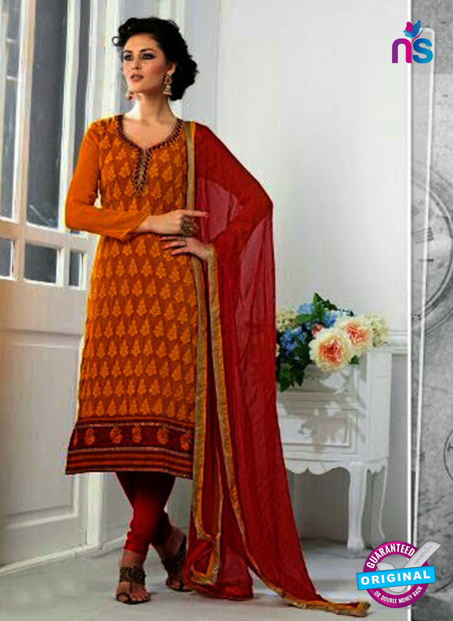 SC 13068 Orange and Red Georgette Embroidery Party Wear Straight Suit