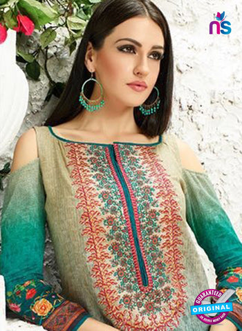 AZ 3338 Sea Green Printed Cotton Satin Pakistani suit