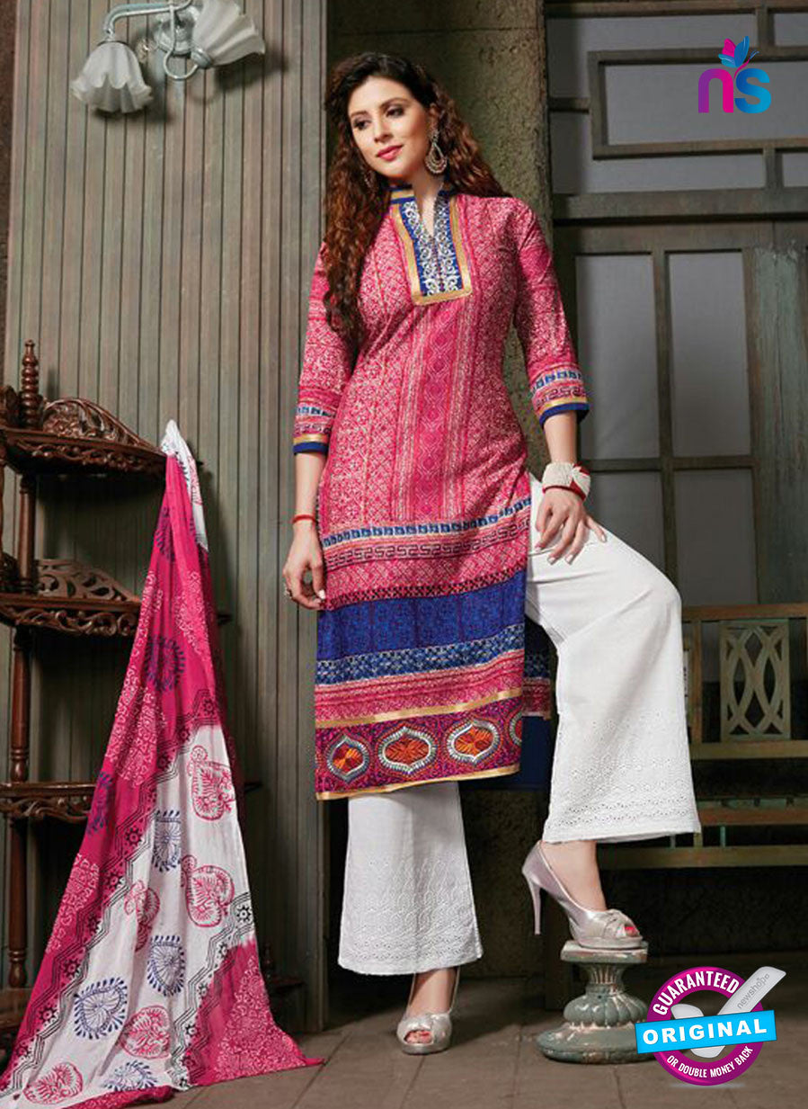 NS10263 Pink and White Printed Cambric Cotton Casual Plazzo Suit