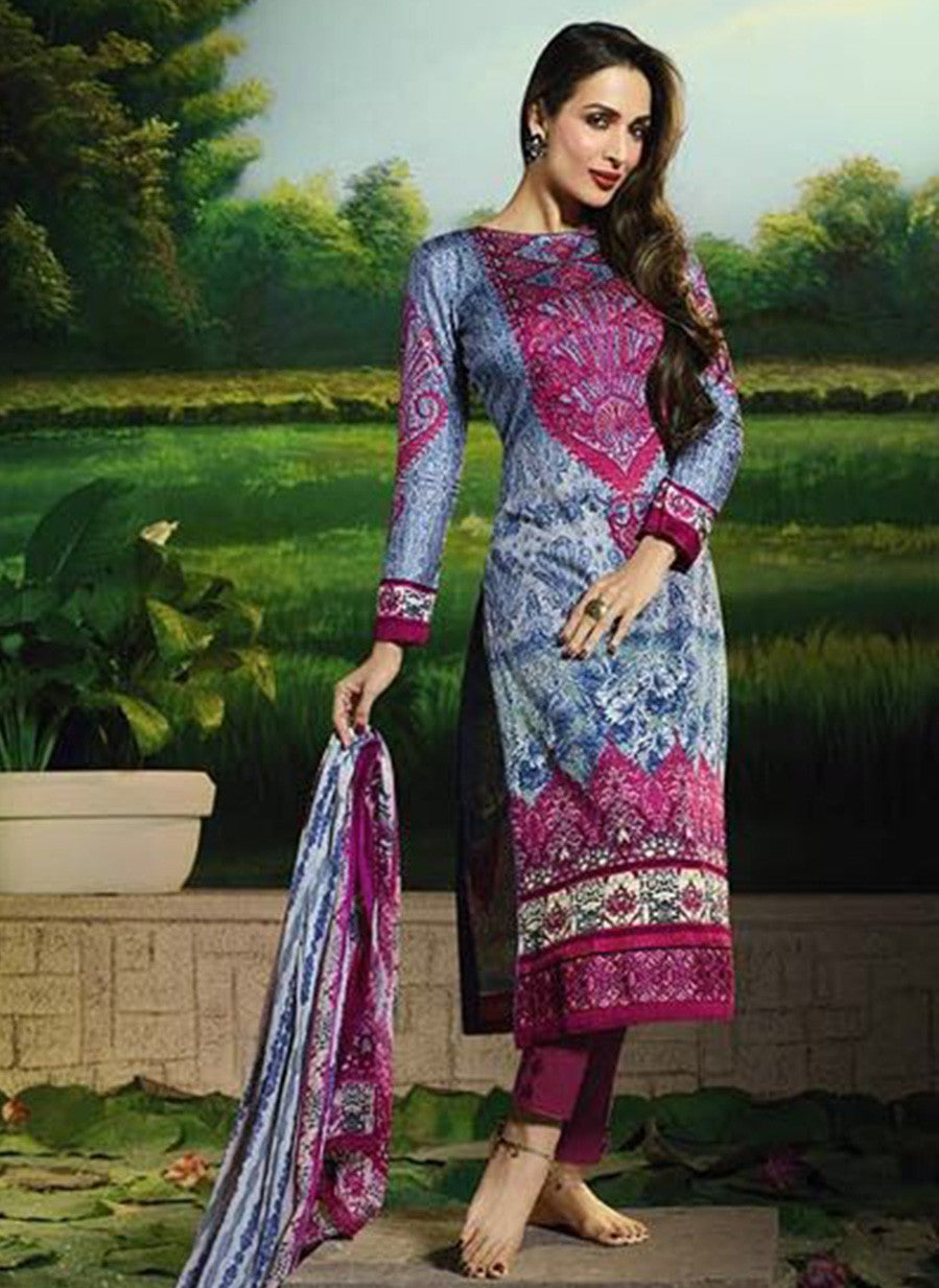Glossy 508B  Pink Color Glace Cotton Designer Suit
