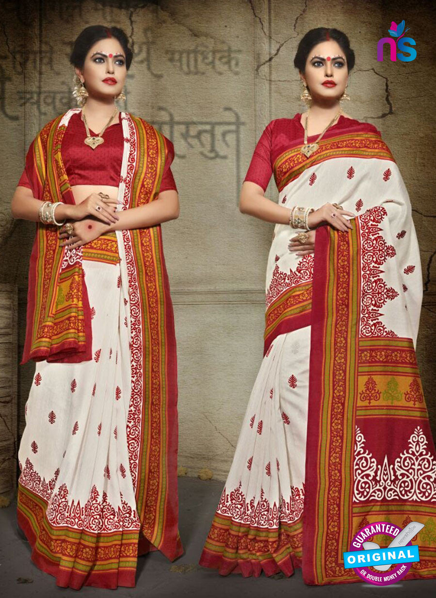 SC 12620 White, Red and Green Bhagalpuri Silk Designer Saree