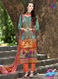 SC 12956 Green and Orange Camric Lawn Pakistani Suit