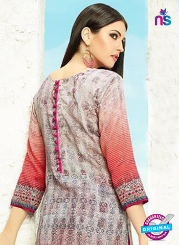 AZ 3339 Grey and Pink Printed Cotton Satin Pakistani suit