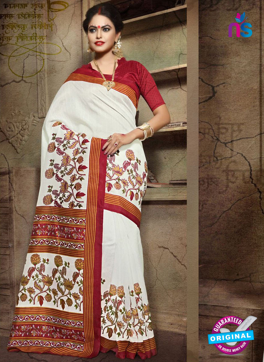 SC 12622 White, Yellow and Red Bhagalpuri Silk Designer Saree