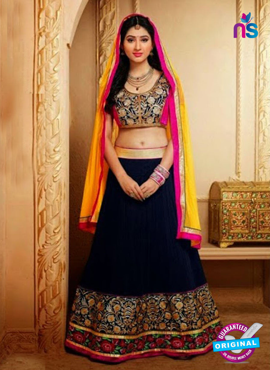 SC 13184 Black and Golden Wedding Wear Valvet Lehenga Choli